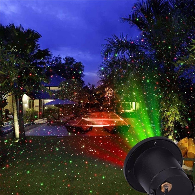Remote Static Red And Green Sparkling Star Outdoor Christmas Laser Light Tree Show Projector