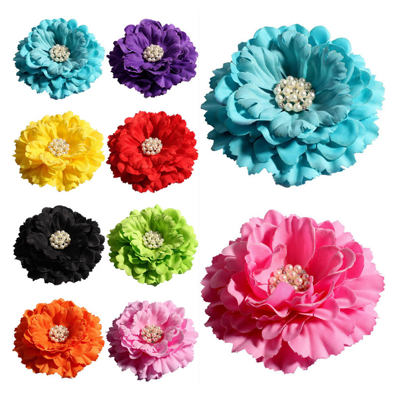 120pcs lot 11cm 20colors Peony Flowers Rhinestone Pearl Buttons For Kids Girls Hair Accessories Fabric Flowers