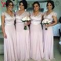 Short Sleeves Bridesmaid Gown Elegant A-line Chiffon Bridesmaid Dress Light Pink V-neck Vestidos Longo Maid Of honour Dress