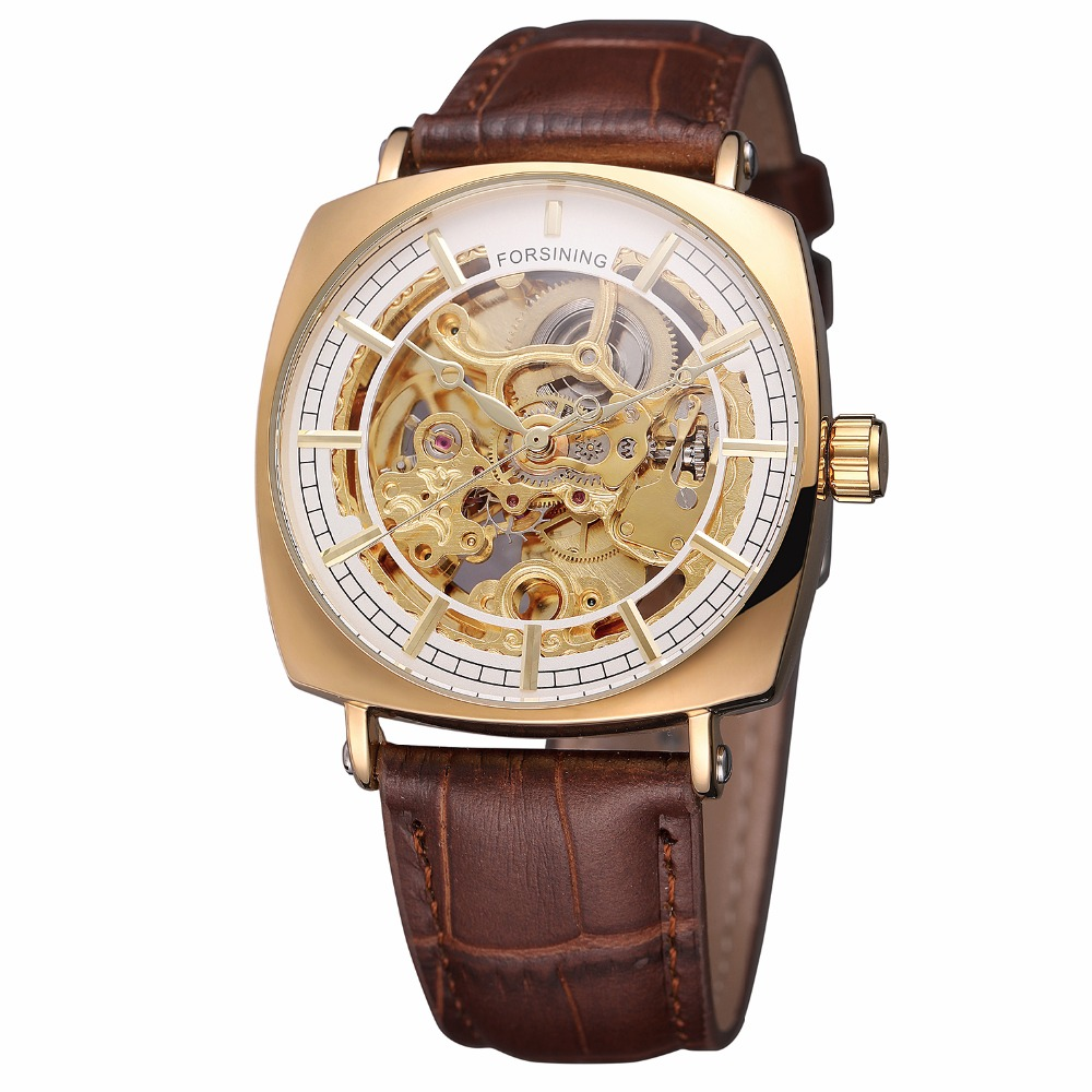 New Arrival Brown Genuine Leather Fashion Royal Luxury Golden Case Skeleton Clock Mens Automatic Self Wind Mechanical WatchNew Arrival Brown Genuine Leather Fashion Royal Luxury Golden Case Skeleton Clock Mens Automatic Self Wind Mechanical Watch
