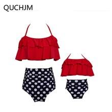 Одинаковый комплект для семьи женский бикини с высокой талией винтажная повязка Купальник Плюс размер купальный костюм мать и Детские бикини