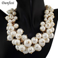 Danfosi Большой Бренд Имитация Жемчуга Ожерелье Женщины Ювелирных Изделий Многоуровневые Цепи Чокеры Биб Себе Ожерелья Бижутерия