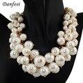 Danfosi Big Brand Imitation Pearls Necklace Women Fashion Jewelry Multilevel Chains Chokers Bib Statement Necklaces Bijouterie
