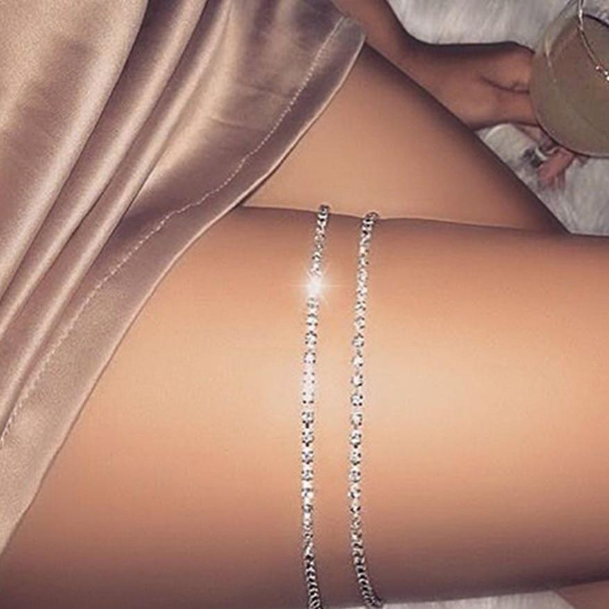 Women Shiny Leg Body Chain Thigh Crystal Rhinestone Boho Bikini Beach Jewelry UK