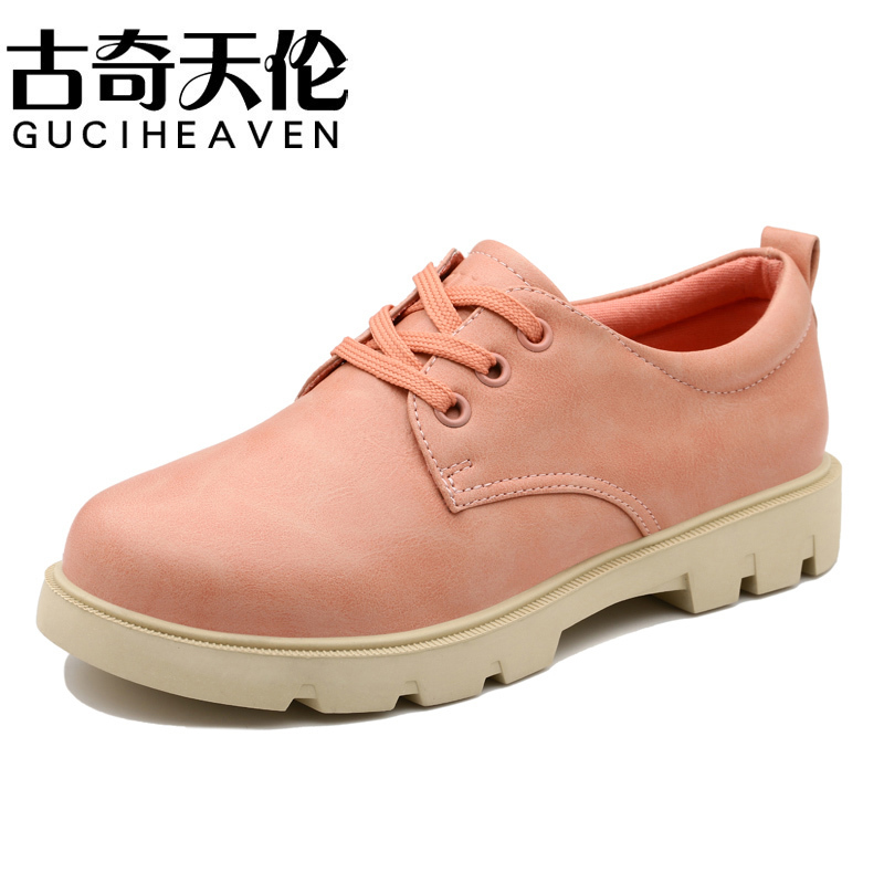 Guciheaven 7897 New Design Women Casual Shoes,High Quality Leather Flats,Round Toe Lace-Up Footwear,Sweet Girls' Leisure Flats new 2017 spring summer women shoes pointed toe high quality brand fashion womens flats ladies plus size 41 sweet flock t179