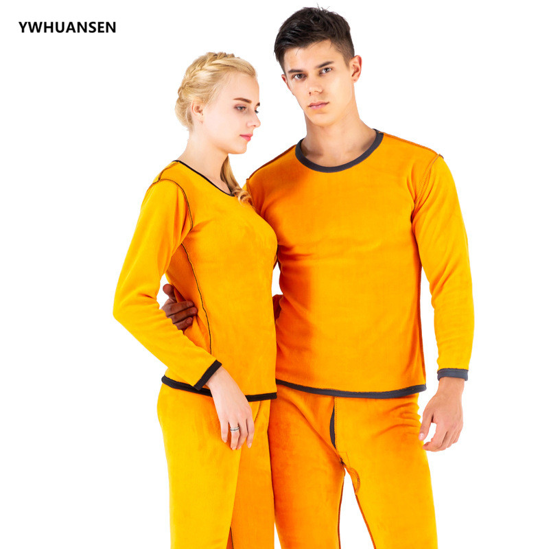 YWHUANSEN 2pcs/set Women And Men's Ultra Soft Thermal Underwear Long Johns Set Fleece Lined Thick Warm Winter Thermal Clothing