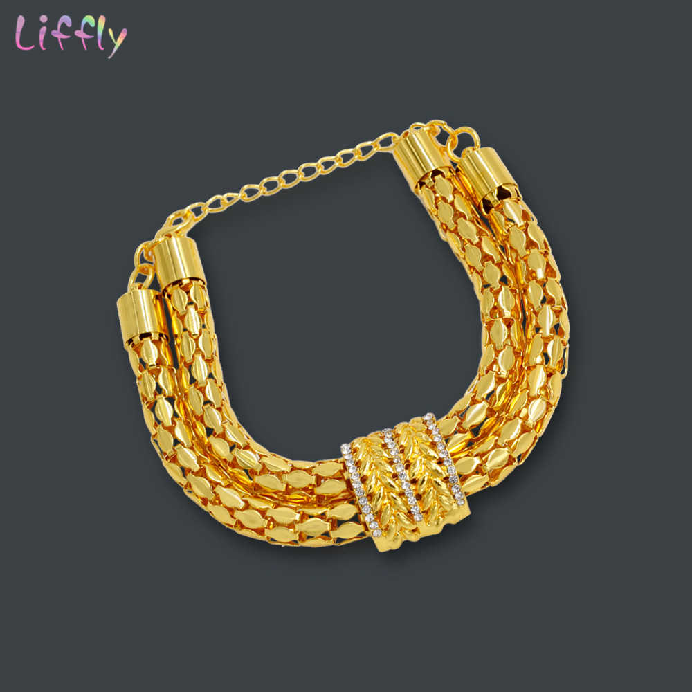 Liffly Bridal African Jewelry Sets Fashion Gold Necklace Earrings Ring Zircon Bridesmaid Dubai Gold Jewelry Sets for Women