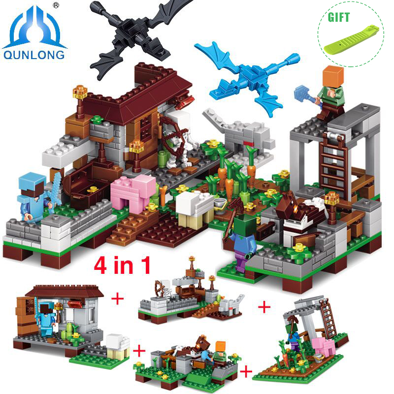 Qunlong 390pcs 4 in1 Minecrafted Figures My World Model Building Blocks Compatible Legoed Minecraft City Educational Toy For Kid qunlong toys compatible legos minecraft city model building blocks diy my world action figures bricks educational boy girl toy