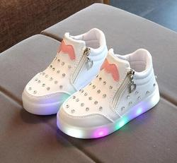 AI LIANG Lovely Princess Boys Girls Boots Cartoon Children Shoes Casual Fashion LED Light Baby Kids Sneakers