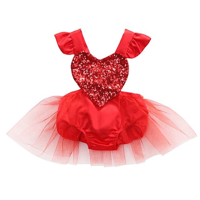 Fahion recién nacido bebé niña lentejuelas Rojas amor corazón Romper encaje tutú trajes traje de sol