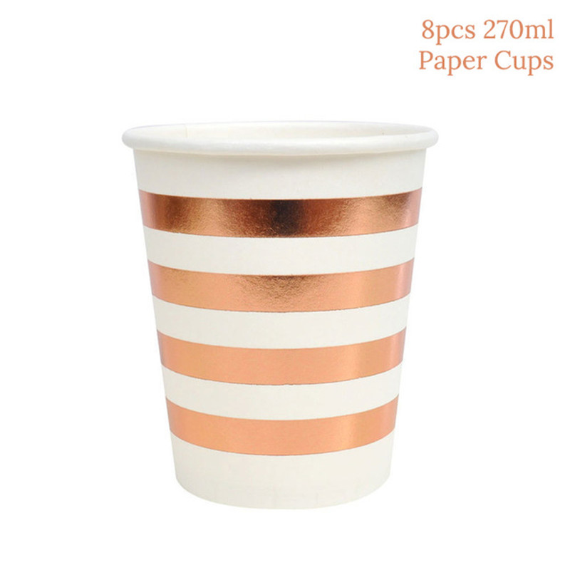 Rose Gold Decoration Party Disposable Tableware Champagne Cup Plate Straws Wedding Party Decor Birthday Party Decorations Adult in Disposable Party Tableware from Home Garden