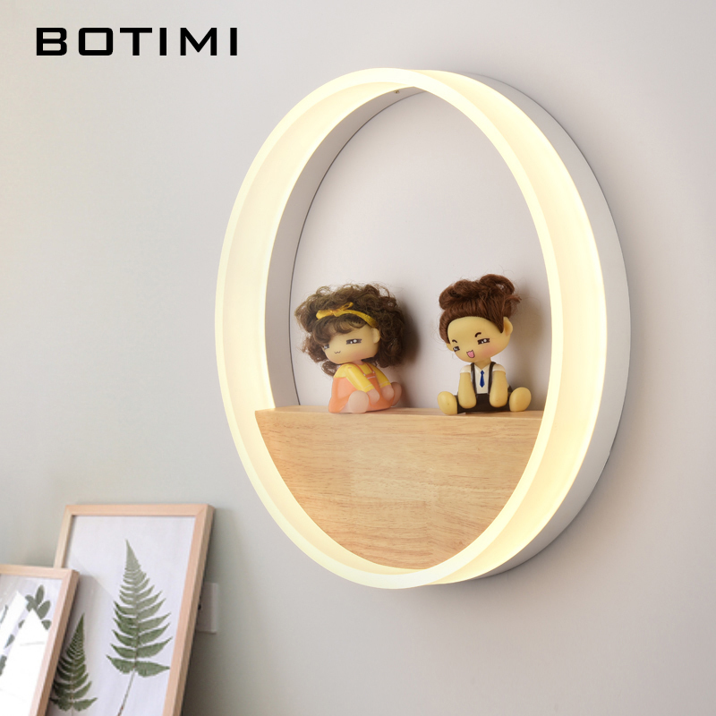 Botimi Decorative Round Wall Lamp 220V Modern Simple LED Wall Light For Living Room Wooden Bedside Lamps Hotel Wood Wall sconce modern style wooden led wall lamp 220v bed room bedside wall light natural solid wood frosted glass foyer study home decoration