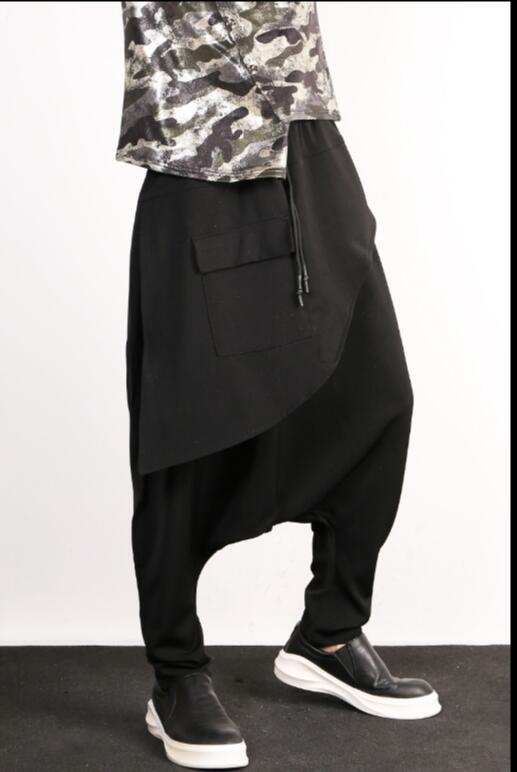 Harem Hombres Personalidad Estilista xxl M Etapa Otoño Cantante 2019 Marea Trajes Los Informales La Pantalones Pelo De Culottes Negro Vuelo qwO4wCz