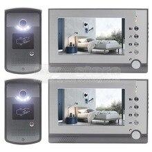 DIYSEUCR 2 Cámara 2 Monitor de 7 pulgadas Video de La Puerta Teléfono Entrar ID Desbloqueo de Intercomunicación de Manos Libres LED de Visión Nocturna cámara