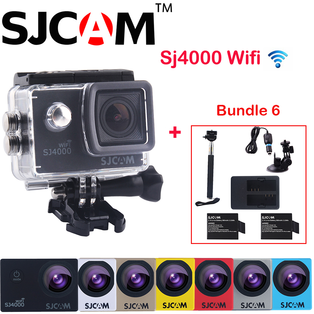 Original SJCAM 2'' Screen SJ4000 WIFI Action Camera Sports Mini DVR + 2Battery+Dual Charger+Selfie Stick+Car Charger+Suction Cup original sjcam sj6 legend accessories battery selfie stick monopod wrist remote dual charger for sj cam sj6 legend action camera
