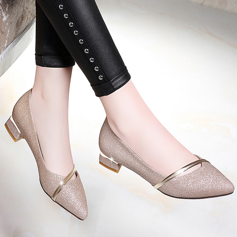 pumps women shoes Women heels Low Heels Pointed Toe Shallow Spring Fall Casual Pumps Shoes Gold Silve 2019