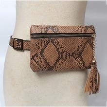 12PCS / LOT Fashion Women Waist Bag Serpentine Belt Bag Female Vintage Waist Pack Lattice Fanny Pack Tassel Lady Zipper Coin