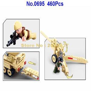 Image 4 - sluban 0695 460pcs military k18 105mm cannon artillery half track vehicle ww2 world war ii building blocks 3 figures Toy