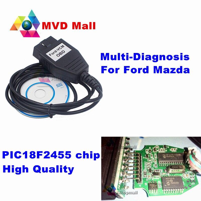 Prix pour Super OBD2 Scanner Pour FORD VCM OBD FoCOM Voiture De Diagnostic Interface Pour FORD/Mazda 1996-2011 Multi-langues Mini Type De VCM IDS