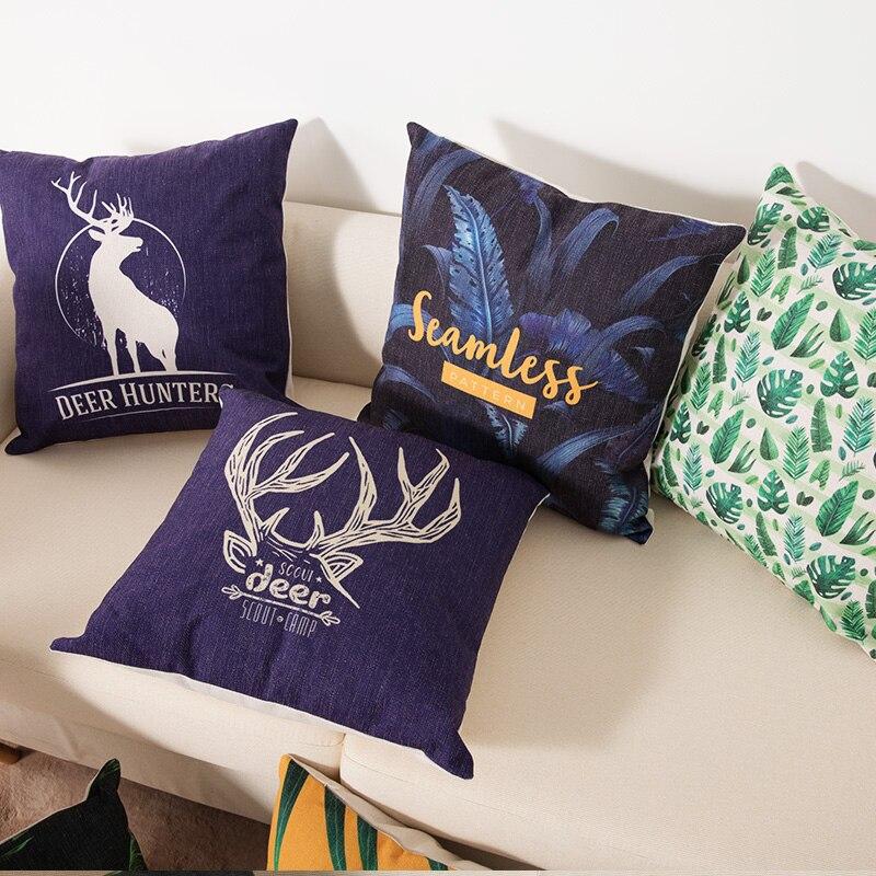 HTB1PiE aX67gK0jSZPfq6yhhFXa6 Deer Cushion Cotton Two side printed linen Cartoon stripes tropical plants European style