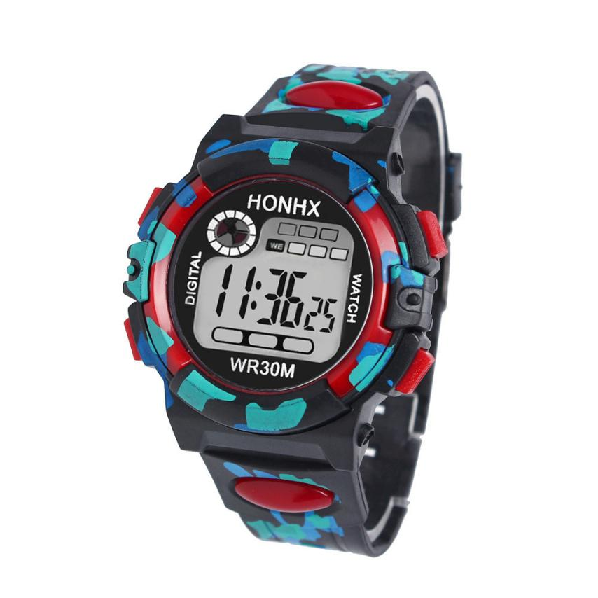 Honhx Multifunction Chidren Digital Watches Boys Girls Child Rubber Sports Electronic Wrist Watch Kids Led Date Clock Reloj #zer