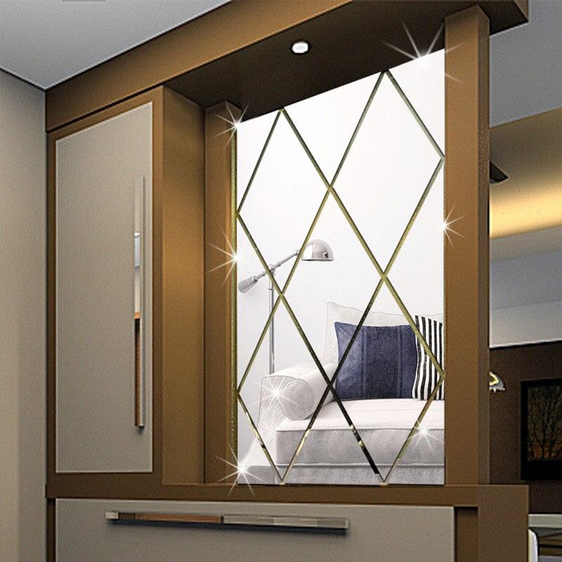 Acrylic diamond round decorative mirror wall stickers environmentally high quality Bathroom livingroom bedroom decorative mirror