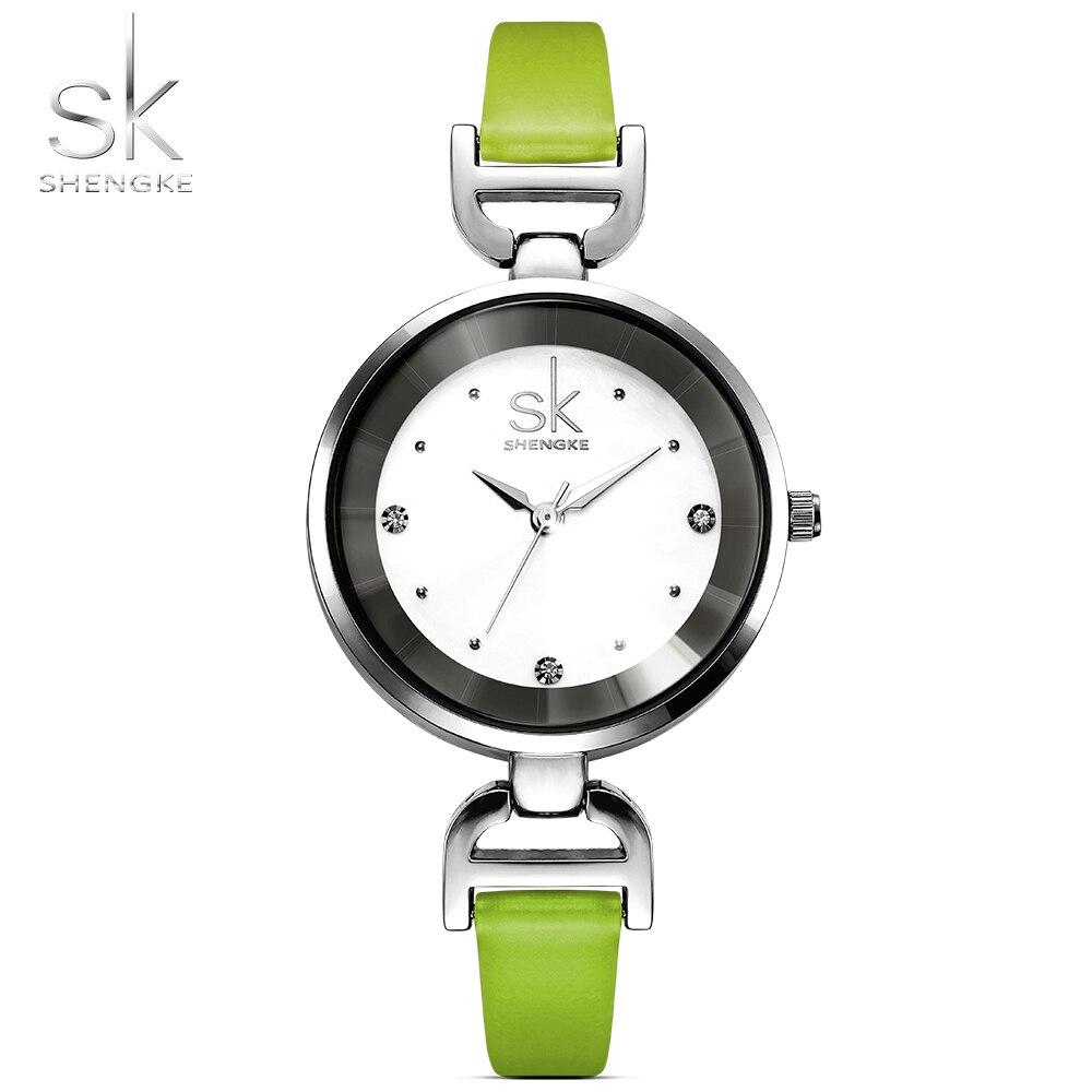 Shengke New Fashion Brand Leather Strap Diamond Quartz Women Watches Ladies Dress Wristatches Female Casual Girl Watches 2017
