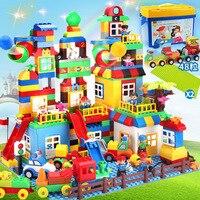210 шт. строительные блоки кирпичи гонка Запуск мяч Трек Совместимость Legoe duplo Радуга coloful слайд мяч блоки игрушки для детей