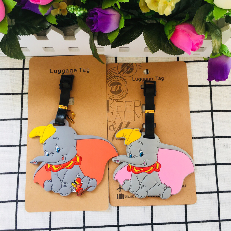 IVYYE Kawaii Fly Elephant Anime Travel Accessories Luggage Tag Suitcase ID Address Portable Tags Holder Baggage Label New