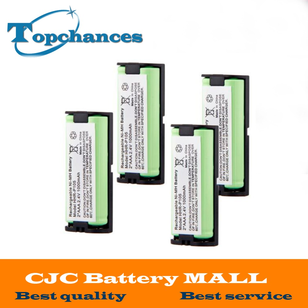 4 pcs 2.4V 1000mAh Home Cordless Phone Battery for Panasonic HHR-P105 HHRP105