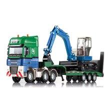 Литой Сплав литой полуприцеп 1:50 низкая платформа грузовик низкорамный трактор с 4 колесный погрузчик автомобиль литая модель хобби игрушка малыш