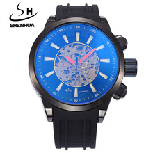 Top Luxury Brand Mechanical Watches SHENHUA Fashion Sports Rubber Strap Automatic Mechanical Watches For Men Skeleton Watches