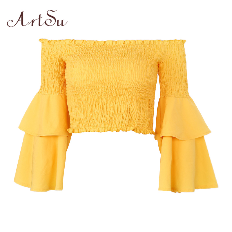 ArtSu Autumn Fashion Off The Shoulder Tops For Women Sexy T Shirt Long Flare Sleeve Crop Top Ladies Yellow Red T-shirt ASTS20224