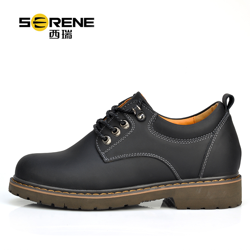 Height Increasing Spring Autumn New Split Leather Shoes For Men Lace-up Waterproof Causal Footwear Anti-slip Mens Big Size Shoe