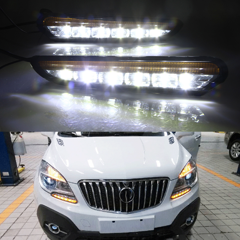 Car Flashing 1Pair For Buick Encore Opel Mokka 2012 2013 2014 2015 LED DRL Daytime Running