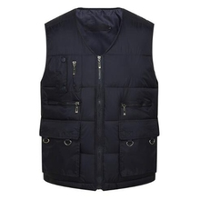 Winter Men Cotton Warm Vest Waistcoat Male Sleeveless Jacket With Many Pockets Casual Baggy Zipper For Man Plus Size S-3XL