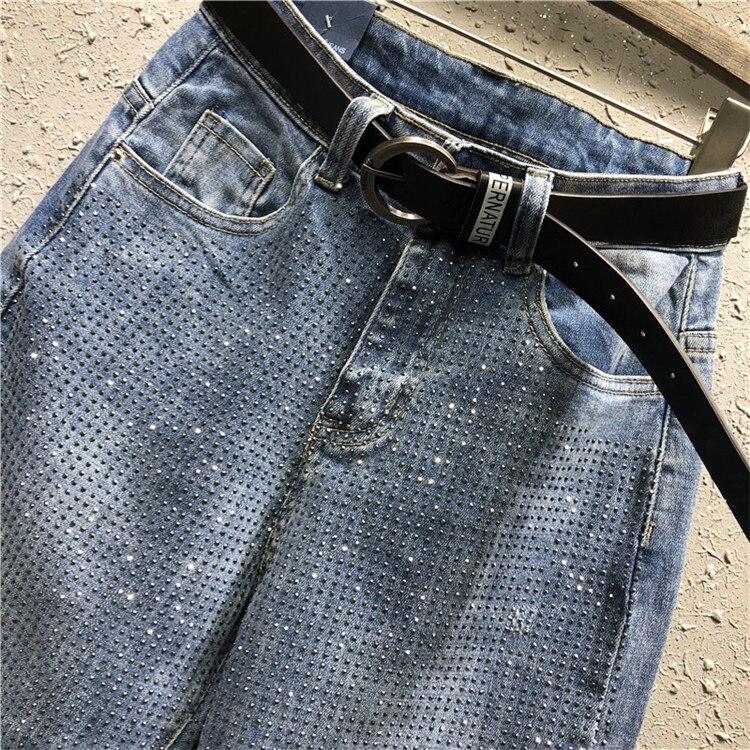 Sueltos De Mezclilla Pantalones Mujeres As Photo Harem Jeans Diamantes 26 31 Casual Tamaño Para Plus Alta Agujero Moda Cintura Imitación PwtnZ7
