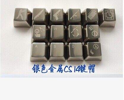 Gaming Mechanical Keyboard Keycap Metallic Gold Alluminum-Caps Silver Cs-Go MKC OEM