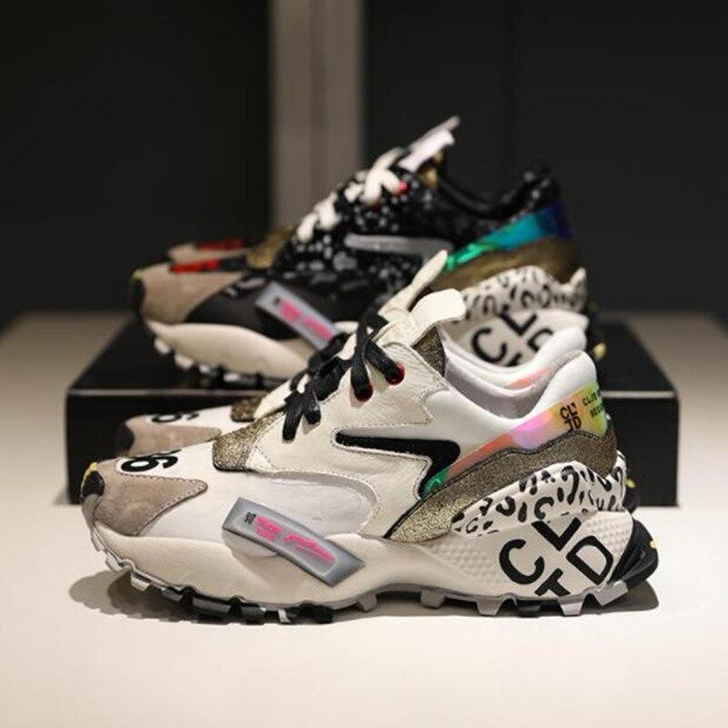 Ayakk.'ten Vulkanize Kadın Ayakkabıları'de Prova Perfetto 2019 Sneakers Kadın Moda Tıknaz Baba Ayakkabı Kadın Moda Kalın Taban Bayanlar Platformu Ayakkabı Bağcıkları zapatillas mujer'da  Grup 2