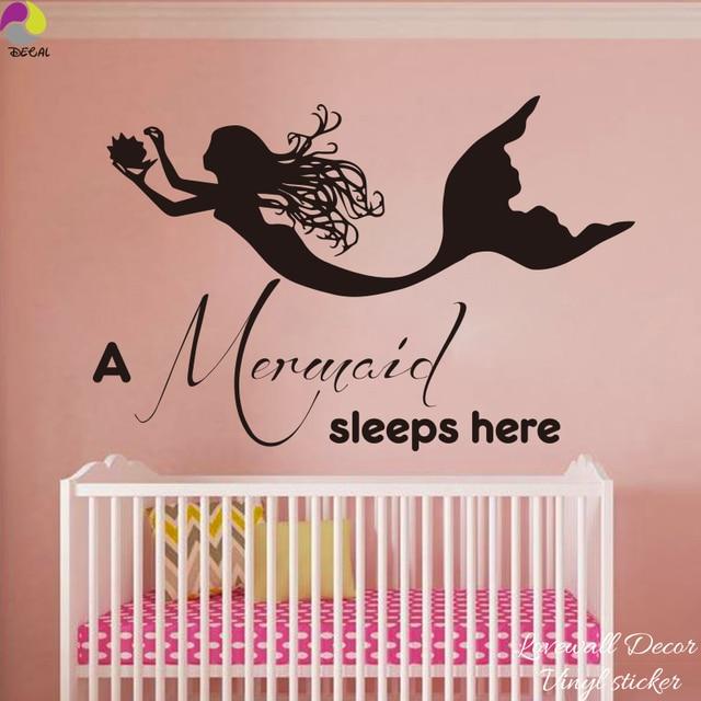 Una sirena duerme aquí familia amor cita etiqueta de la pared chica ...