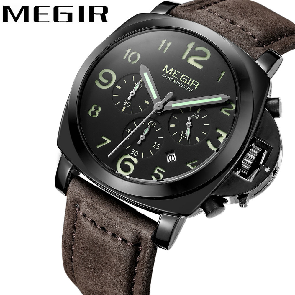 MEGIR 2018 Casual Fashion Watch Men Quartz Clock Chronograph 3 Sub-dials 6 Hands Top Brand Luxury Waterproof Leather Wrist Watch nika veresk in the shadow of the stolen light page 9