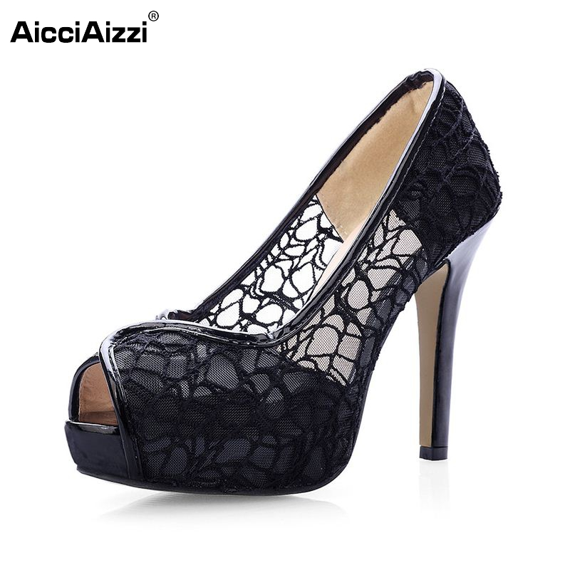 Lace Summer Boots Party Fashion Shoes Woman Sexy Open Toe High Heels Platform Pumps Women High Heels Pumps Size 33-41 PA00473 big size 32 43 fashion party shoes woman sexy high heels platform summer pumps ankle strap sandals women shoes