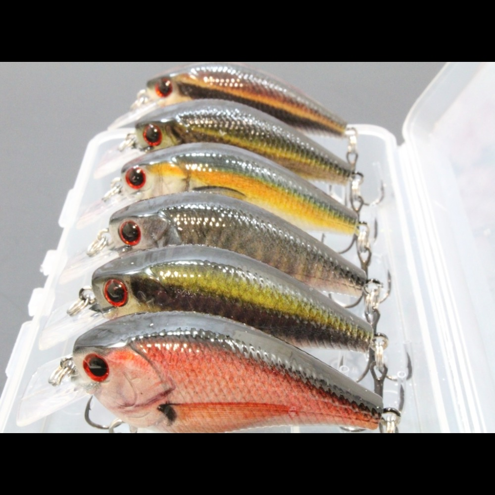 wLure 6 Lures per Pack 7cm 10g Square Bill 0.5 Meter Depth Wild Wobble Slow Floating RealLife Crankbait Fishing Lure HC15KB