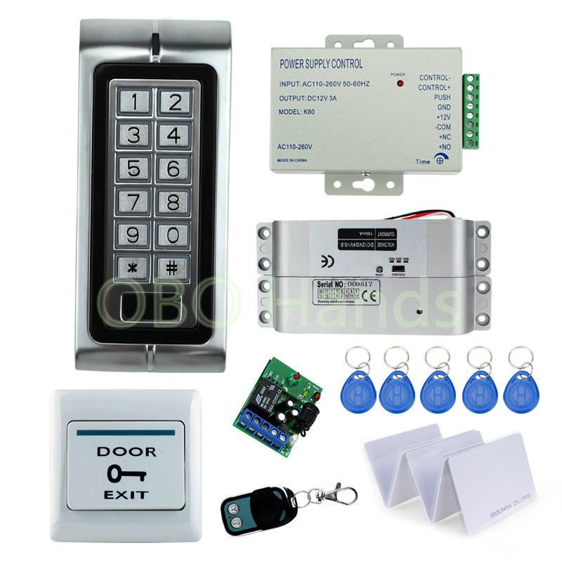 ФОТО DC12v electric lock High quality keypad+power supply+exit button+bolt lock+keycards+remote controller