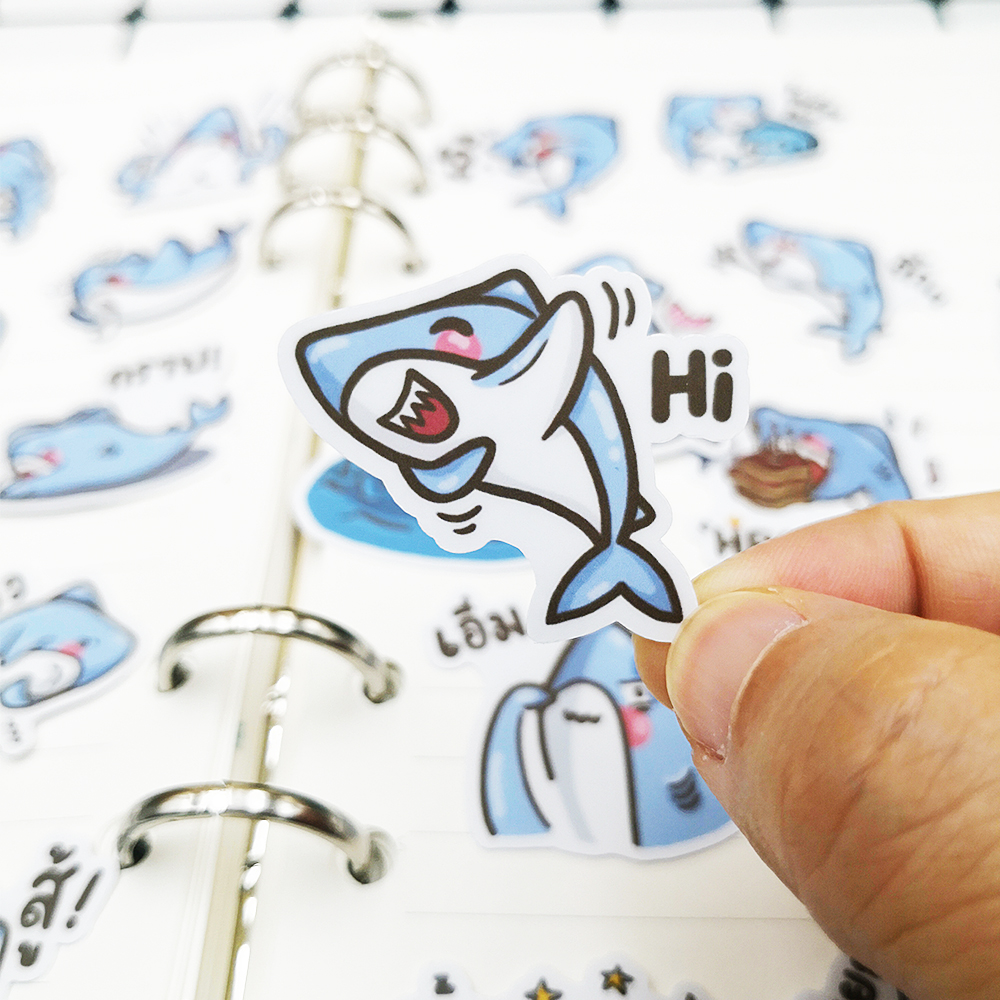 20/40pcs Kawaii Funny Shark Sticker Graffiti Anime Cartoon Scrapbook Paper Decoration DIY Craft Album Random Not Repeat image