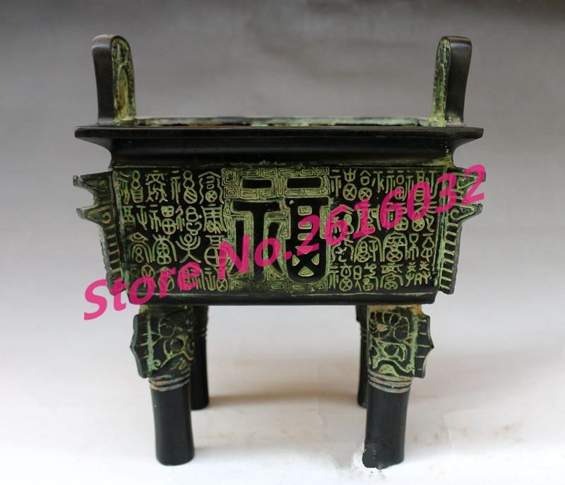 Antique bronze bronze trépied brûleur d'encens trépied, mascotte feng shui maison