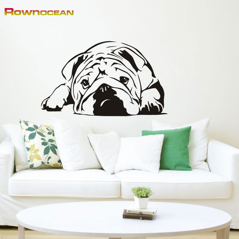 Funny Cute Lazy Pug Animals Dog Wall Stickers For Children Kids Baby Room Vinyl Waterproof Interior Home Decoration Wall Decor