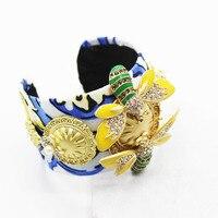 Nova moda Barroca belo azul marinho abelhas libélula jóias pulseira mão jóias 191