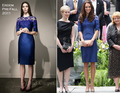 2015 Hot Sale Royal Blue Half Sleeves Evening Gowns Knee-Length Satin and Lace Kate Middleton Celebrity Dresses