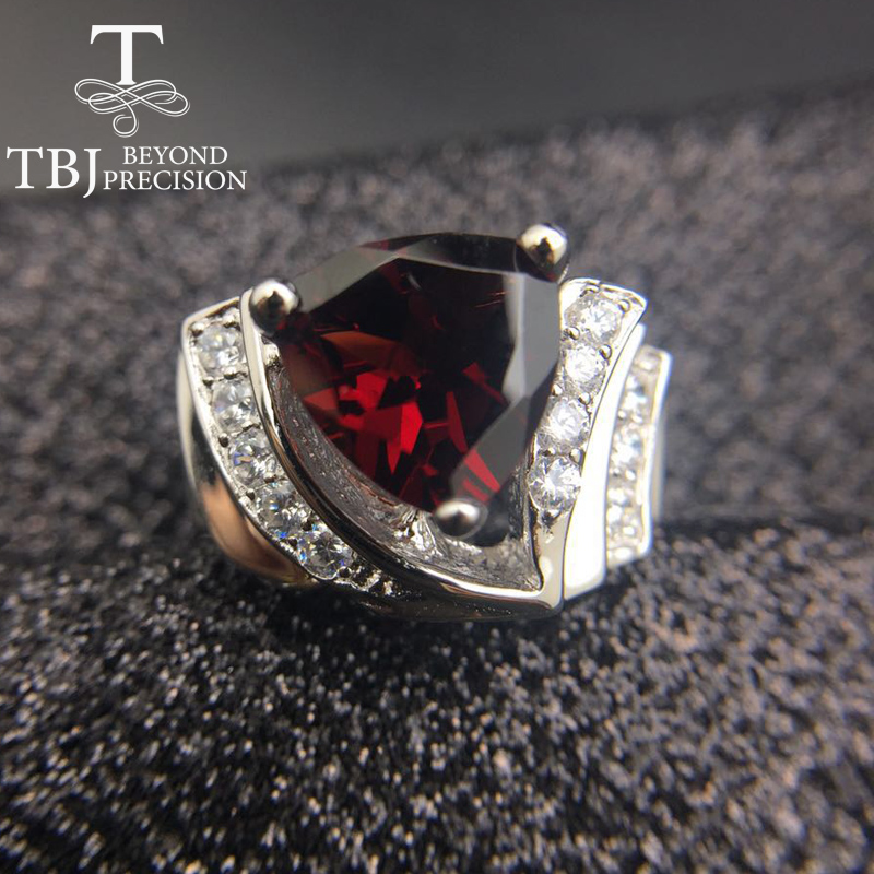 Tbj ,3ct garnet Trl10mm on solid gemstone ring in 925 sterling silver gemstone jewelry,fashion stylish designs ring